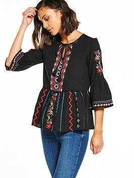 river-island-river-island-embroidered-fluted-sleeve-smock-top
