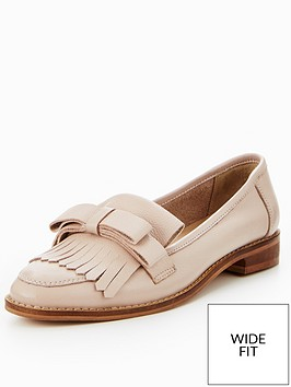 v-by-very-fudge-wide-fit-real-leather-bow-loafer-nude