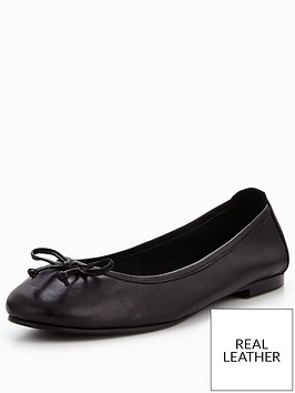 v-by-very-leah-leather-bow-detail-flat-ballerina-shoe-black