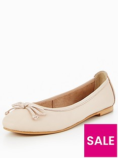 v-by-very-leah-leather-bow-detail-flat-ballerina-shoe-nude