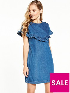 v-by-very-short-sleeve-wrap-denim-dress