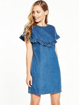 v-by-very-short-sleeve-wrap-denim-dress