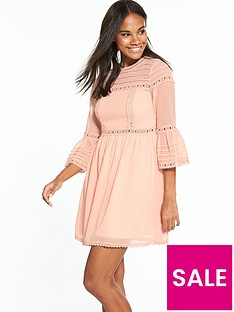 miss-selfridge-pintuck-flute-sleeve-dress-apricotnbsp