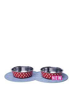 petface-2-x-bella-bowls-with-placemat-cranberrywhite-spots