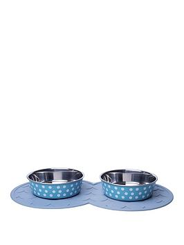 petface-2-x-bella-bowls-with-placemat-turquoisewhite-spots