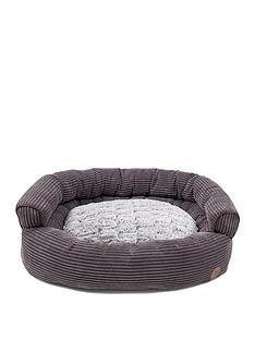 petface-grey-cord-bumper-bed-35-inch