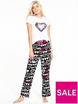 v-by-very-heart-print-woven-pyjama-set