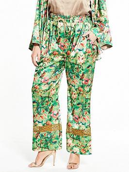 Elvi Curve Floral Silk Wide Leg Trouser