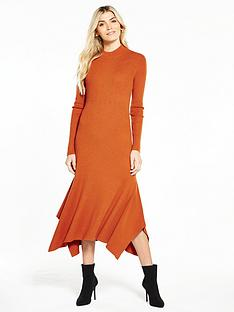 v-by-very-godet-hem-knitted-midi-dress-spice-orange
