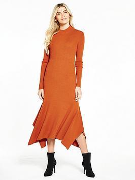 v-by-very-godet-hem-knitted-midi-dress-spice-orange