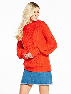v-by-very-cable-blouson-sleeve-jumper-dark-orange