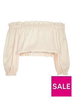 river-island-girls-light-pink-long-sleeve-bardot-crop-top