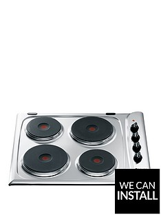 hotpoint-e604x-60cm-built-in-electric-hob-with-optional-installation-stainless-steel