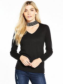 v-by-very-embellished-choker-neck-jumper