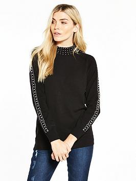 v-by-very-pearl-embellished-turtleneck-jumper-black