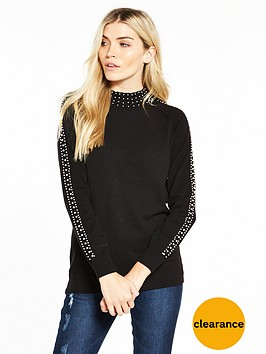 v-by-very-pearl-embellished-turtleneck-jumper-black
