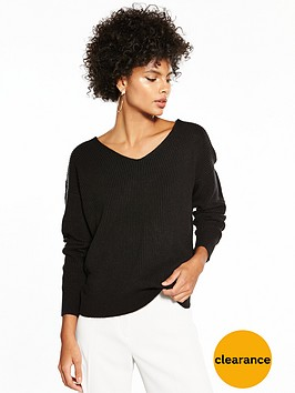 v-by-very-twist-back-rib-jumper-black