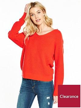v-by-very-twist-back-rib-knit-jumper-orange