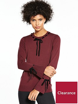 v-by-very-velvet-tie-detail-fluted-cuff-jumper