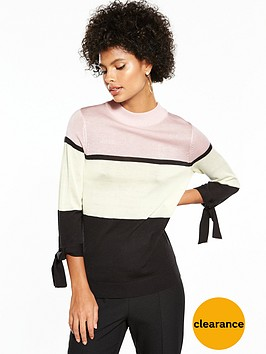 v-by-very-colour-block-tie-cuff-detail-jumper
