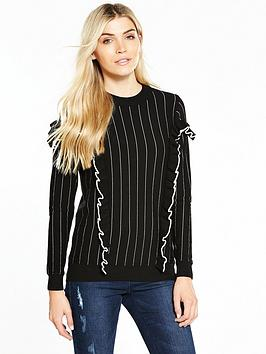 v-by-very-pinstripe-tipped-frill-detail-jumper