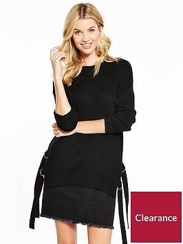 v-by-very-side-split-d-ring-fastening-tunic-jumper-black