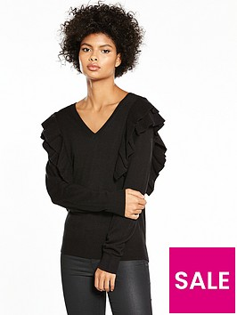 v-by-very-ruffle-shoulder-v-neck-jumper-black