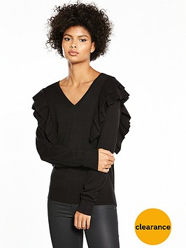v-by-very-ruffle-shoulder-v-neck-jumper-black