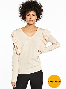 v-by-very-ruffle-shoulder-v-neck-jumper-oatmeal