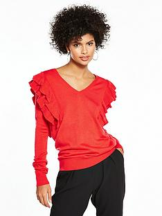 v-by-very-ruffle-shoulder-v-neck-jumper