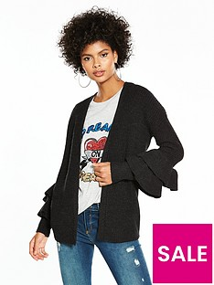 v-by-very-edge-to-edge-tiered-frill-cuff-cardigan-black