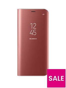 samsung-galaxy-s8-clear-view-stand-cover-case-with-fingerprint-resistant-coatingnbsp--pinknbsp