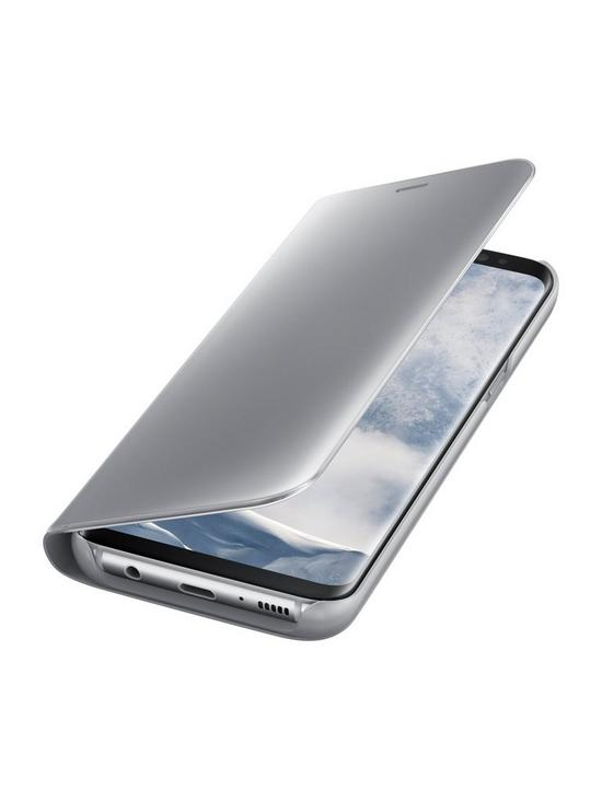 Galaxy S8 Clear View Stand Cover Case with Fingerprint-Resistant Coating -  Silver
