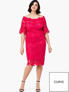 paper-dolls-curve-crochet-lace-bardot-dress-with-fluted-sleeve-detail