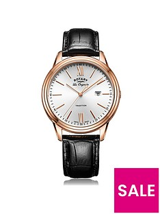 rotary-silver-tone-dial-rose-tone-case-black-leather-strap-mens-watch