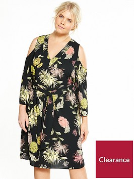 v-by-very-curve-cold-shoulder-printed-midi-dress