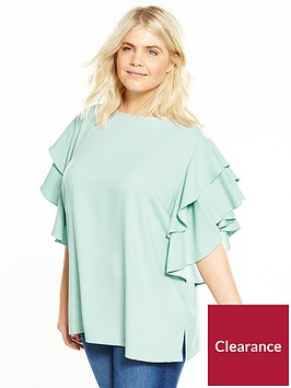 v-by-very-curve-ruffle-sleeve-blouse-mint
