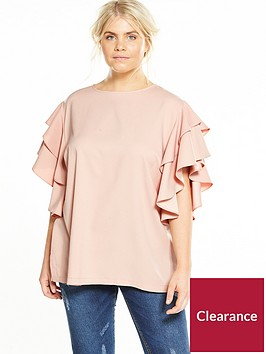 v-by-very-curve-ruffle-sleeve-blouse