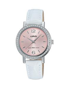 lorus-pink-dial-white-leather-strap-ladies-watch