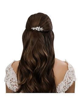 Jon Richard Pearl And Crystal Navette Flower Hair Comb
