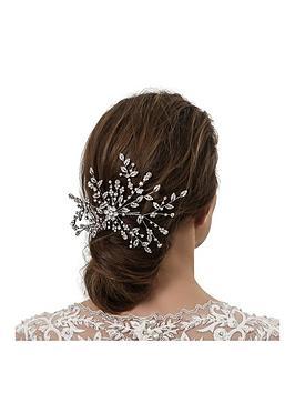 jon richard silver floral spray hair comb