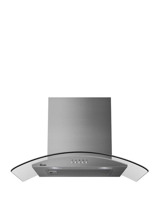 SXB70100SS 60cm Curved Glass Chimney Hood with Carbon Filters Included -  Stainless Steel