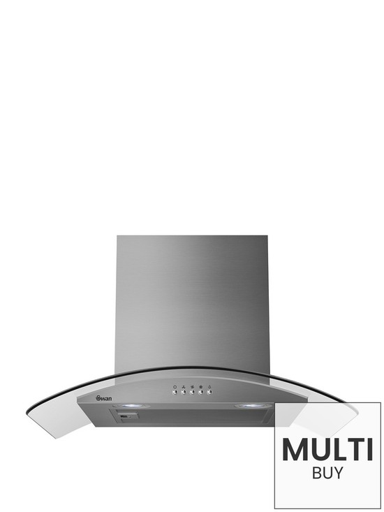 Swan SXB70100SS 60cm Curved Glass Chimney Hood With Carbon Filters Included