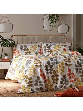 ideal-home-retro-leaves-cotton-rich-180-thread-count-duvet-cover-set