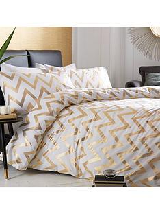 ideal-home-chevron-metallic-duvet-cover-set