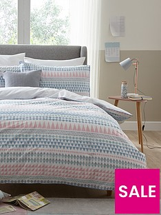 ideal-home-watercolour-aztec-stripe-cotton-rich-180-thread-count-duvet-cover-set
