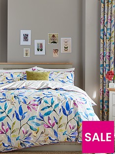 ideal-home-watercolour-leaves-cotton-rich-180-thread-countnbspduvet-cover-setnbsp