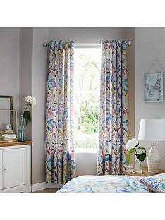 ideal-home-watercolour-leaves-lined-eyelet-curtains