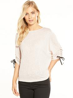 v-by-very-tie-ruched-sleeve-snit-top-oatmeal