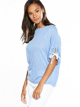 v-by-very-tie-ruched-sleeve-snit-top